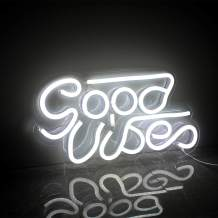 Good Vibes Neon Sign Led Neon Wall Signs Neon Sign Lights White with USB Decor for Bedroom Kidsroom Bar Apartment Shop Christmas Valentine's Day Birthday Party Gift (White)