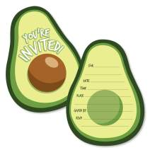 Hello Avocado - Shaped Fill-in Invitations - Fiesta Party Invitation Cards with Envelopes - Set of 12