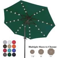 ABCCANOPY 9FT Patio Umbrella Ourdoor Solar Umbrella LED Umbrellas with 32LED Lights, Tilt and Crank Table Umbrellas for Garden, Deck, Backyard and Pool,12+Colors,(Forest Green)