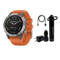 Garmin Fenix 6 Premium Multisport GPS Watch with Pulse Ox with Included Wearable4U Power Pack Bundle (Sapphire/Titanium with Ember Orange Band)