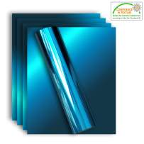 Stretchable Metallic Heat Transfer Vinyl Aqua Foil, Iron On HTV Bundle for DIY Your Own Clothes, 12x10 Inch, Pack of 5 Sheets, Eco-Friendly