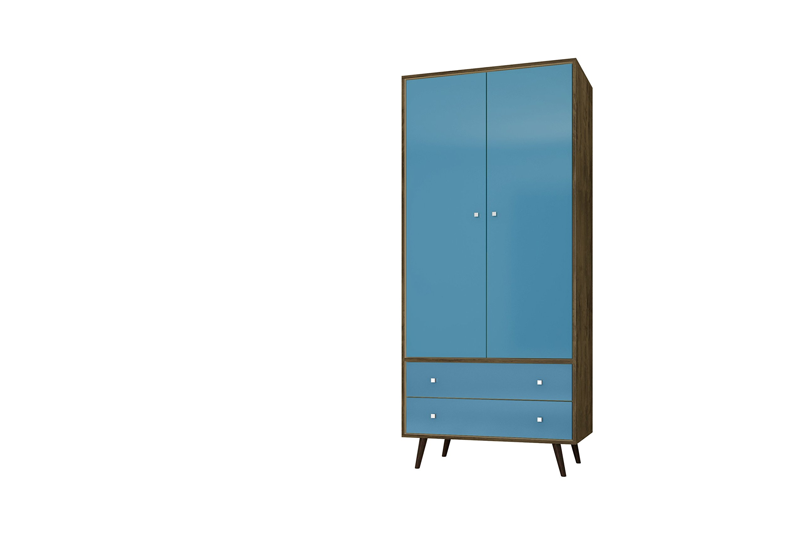 Manhattan Comfort Liberty Collection Mid Century Modern Armoire Closet With Two Cabinets and Two Drawers, Teal/Wood