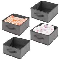 mDesign Soft Fabric Modular Closet Organizer Boxes with Front Pull Handles for Closet, Bedroom, Bathroom, Home Office, Shelves to Hold Clothing, Bedding, Accessories, 4 Pack - Charcoal Gray