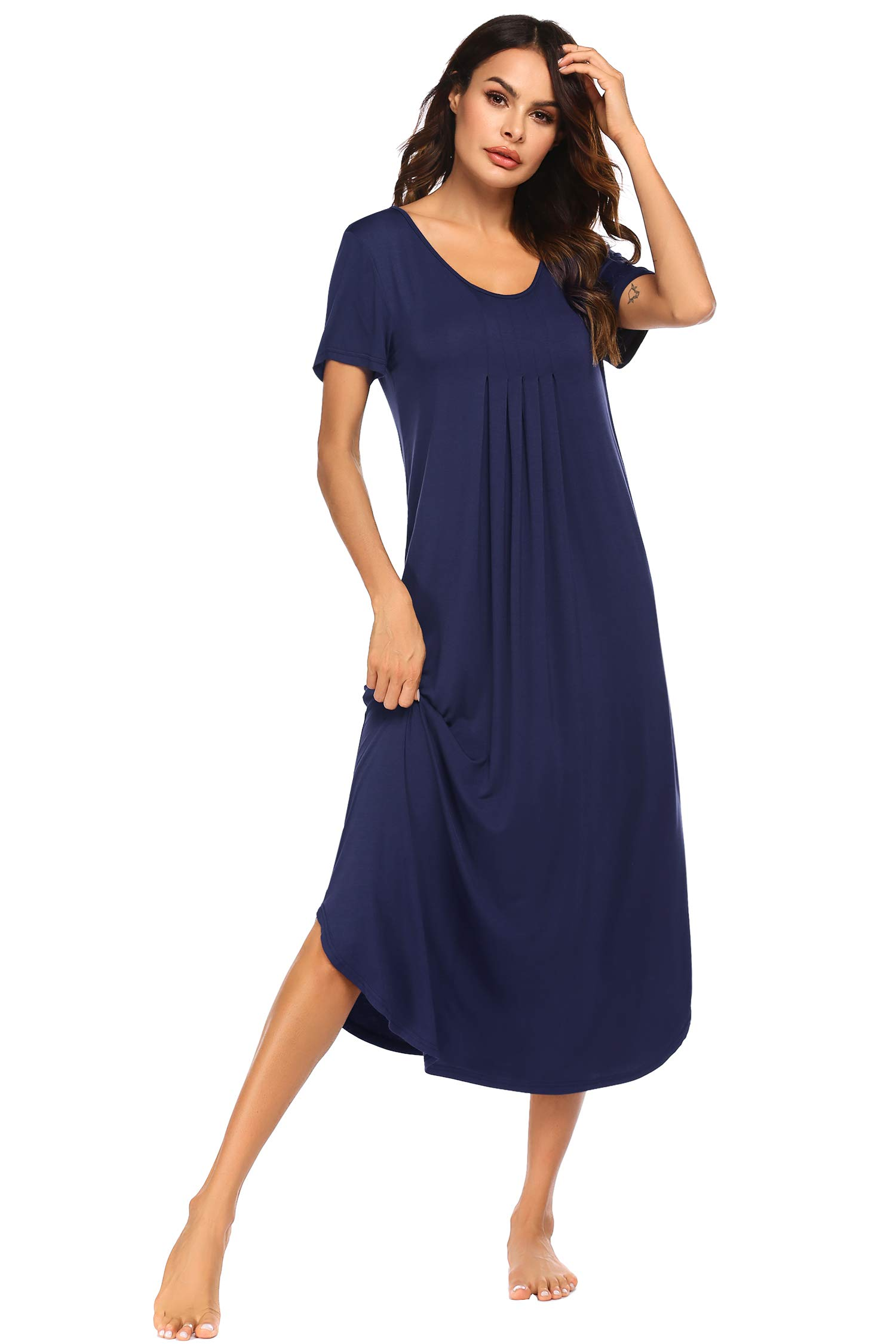 Ekouaer Womens Short Sleeve Long Nightgown Pleated Sleep Dress Soft Nightshirt Sleepwear Lounge Dresses