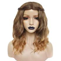 Anogol Hair Cap+Brown Wig Cosplay Synthetic Ombre Wigs Wavy Wigs for Women with Middle Part