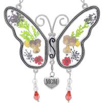 BANBERRY DESIGNS Mom Butterfly Mother Suncatcher with Pressed Flower Wings and a Silver Mom Heart Charm - Butterfly Suncatcher - Mom Gifts - Gifts for Mom - Gifts for Mothers