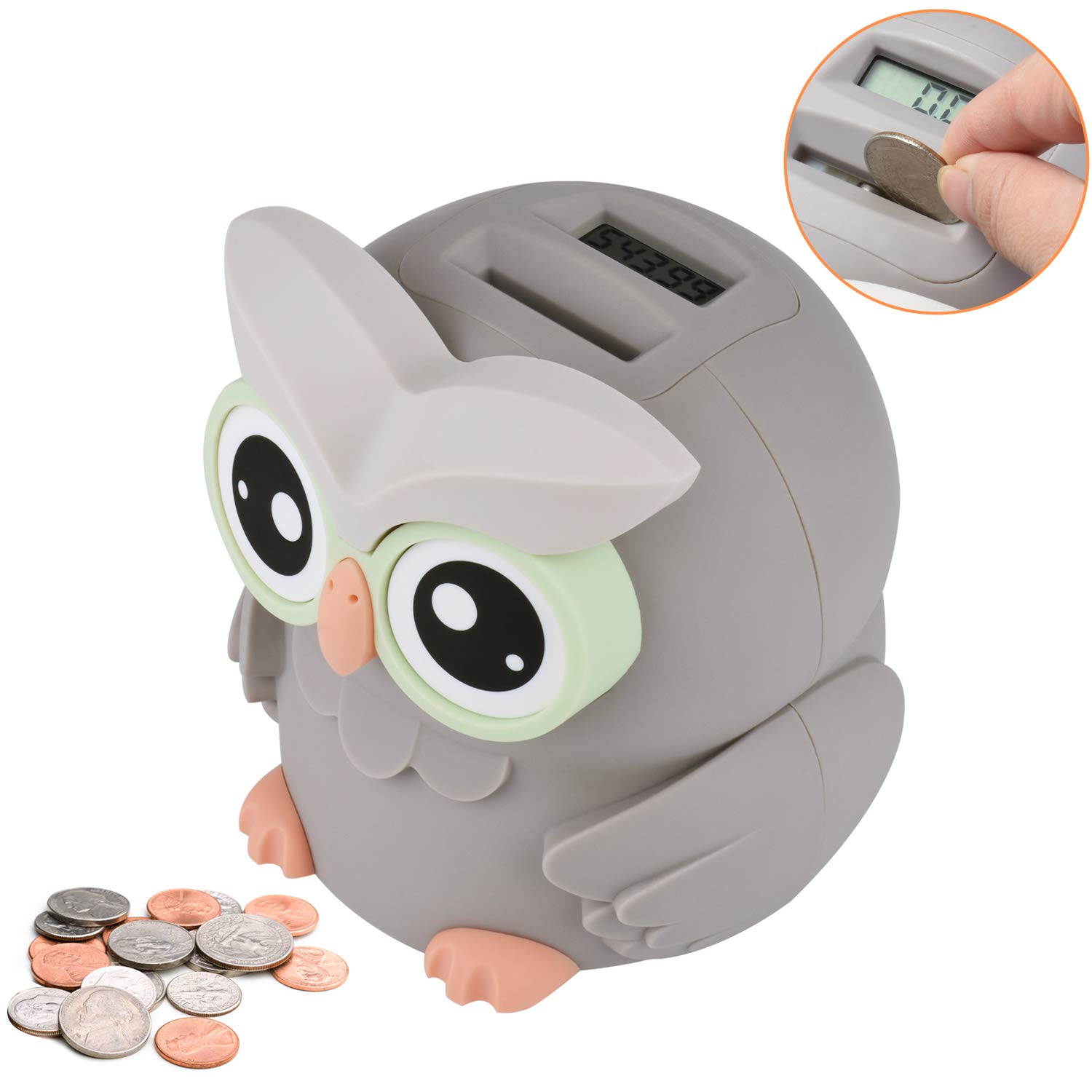 Lefree Piggy Bank,Owl Digital Coin Bank,Money Saving Box with Automatic Counting for Boys,Girls and Adults as a Gift on Any Festivals,Money Bank Powered by 2 AAA Battery (Not Included)