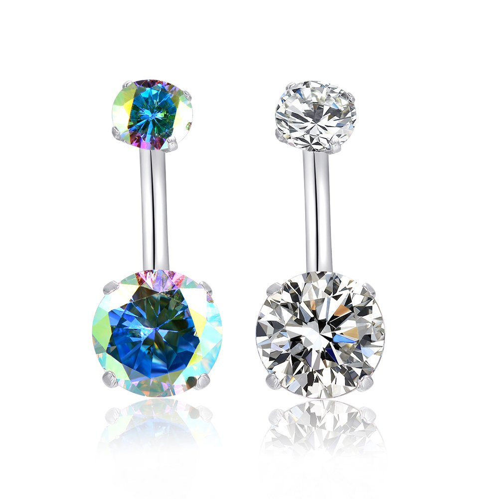 HQLA 14G Belly Button Rings Surgical Stainless Steel Round Cubic Zirconia Navel Barbell Stud Body Piercing