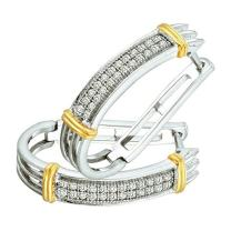 Dazzlingrock Collection 0.20 Carat (ctw) White & Yellow Rhodium Plated 10K Round Diamond Ladies Hoop Earrings 1/5 CT, White Gold