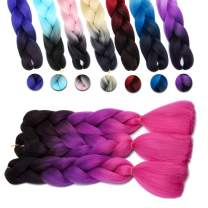 """[1pack] 24"""" Ombre Jumbo Braiding Hair Extensions Multiple Tone Colorful Jumbo Box Braid Hair High Temperature Synthetic Twist Braiding Crochet Hair With Pure Color Or 2 Tone(24"""",black to pink)"""