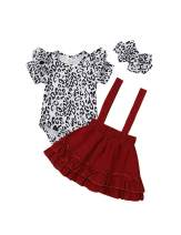 Yoveme Toddler Baby Girls Summer Clothes Sister Outfit Leopard Romper T-Shirt Suspender Skirt Overall Outfits Set