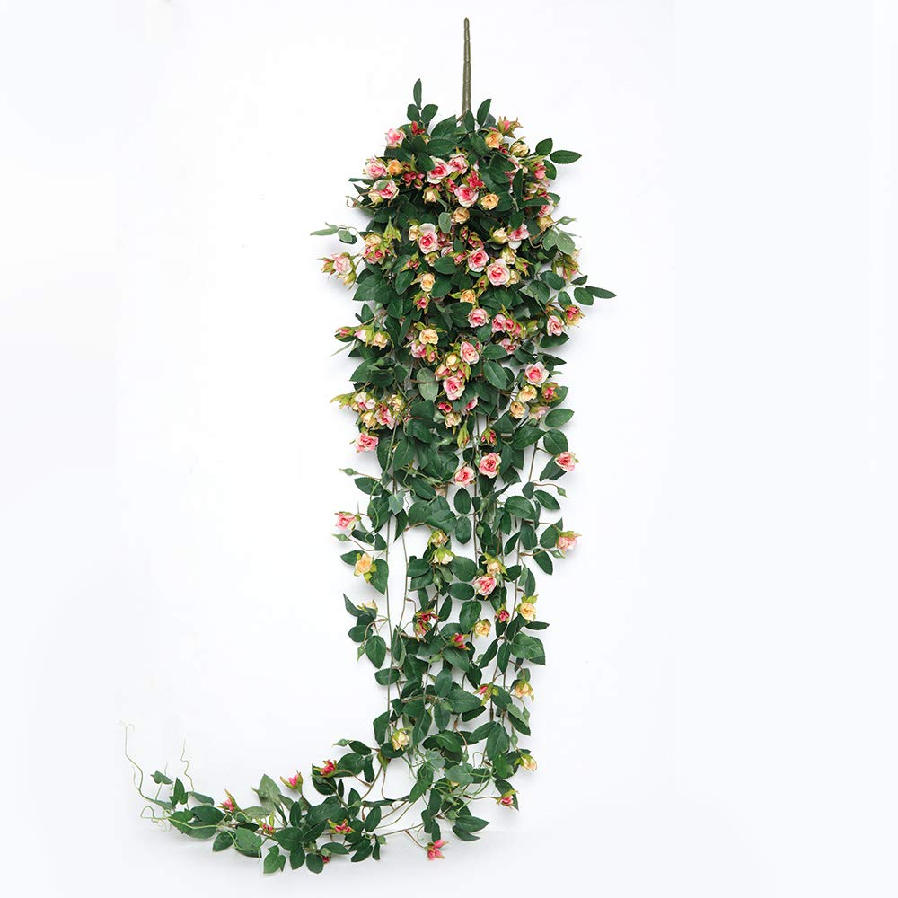 JUSTOYOU Artificial Hanging Rose Vine Plants 5FT Long Fake Hanging Flower Greeny Chain Wall Home Room Garden Wedding Decorative (Light Pink)