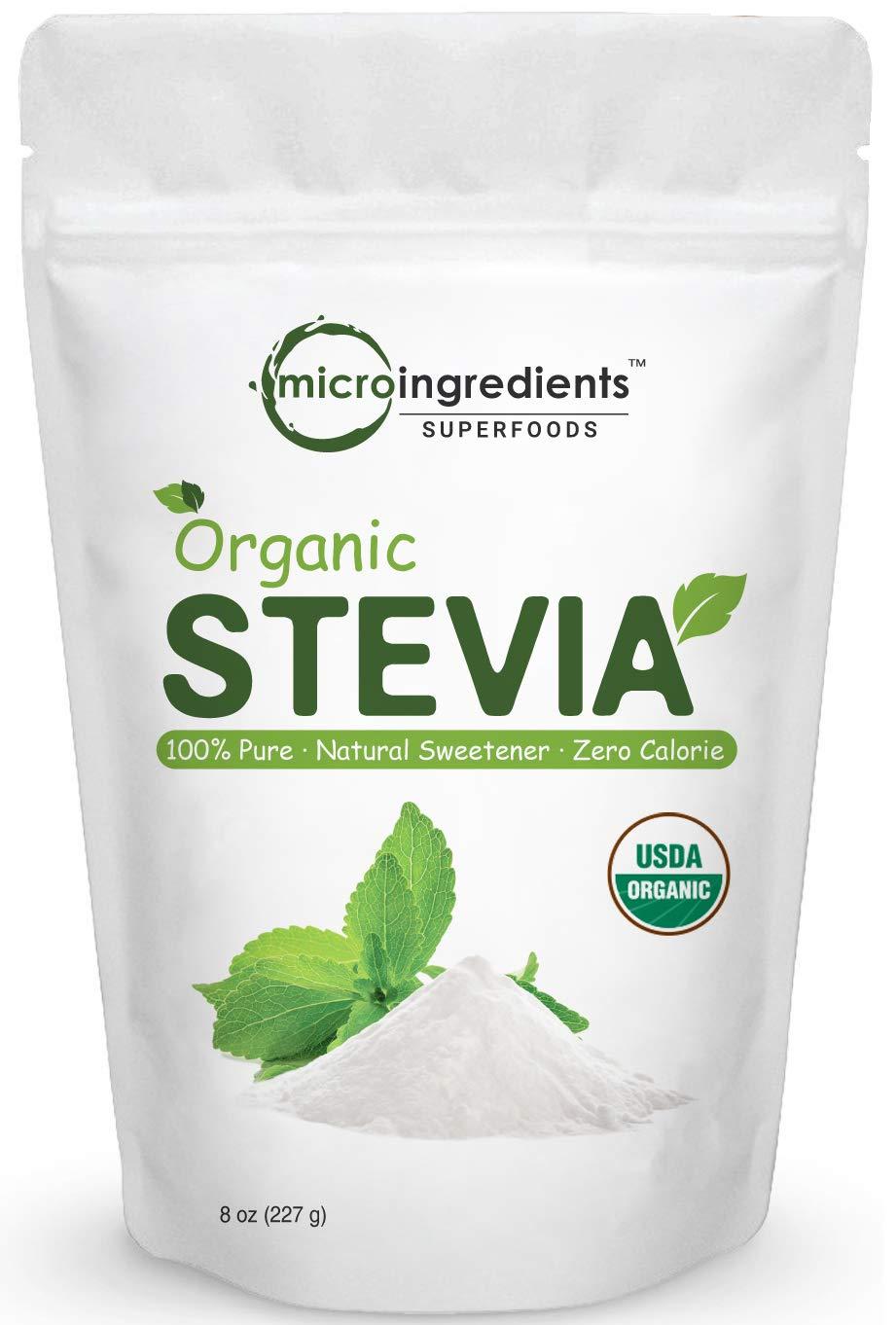 Pure Organic Stevia Powder, 8 Ounce, 1418 Serving, 0 Calorie, Natural Sweetener and Sugar Alternative, No GMOs and Vegan Friendly