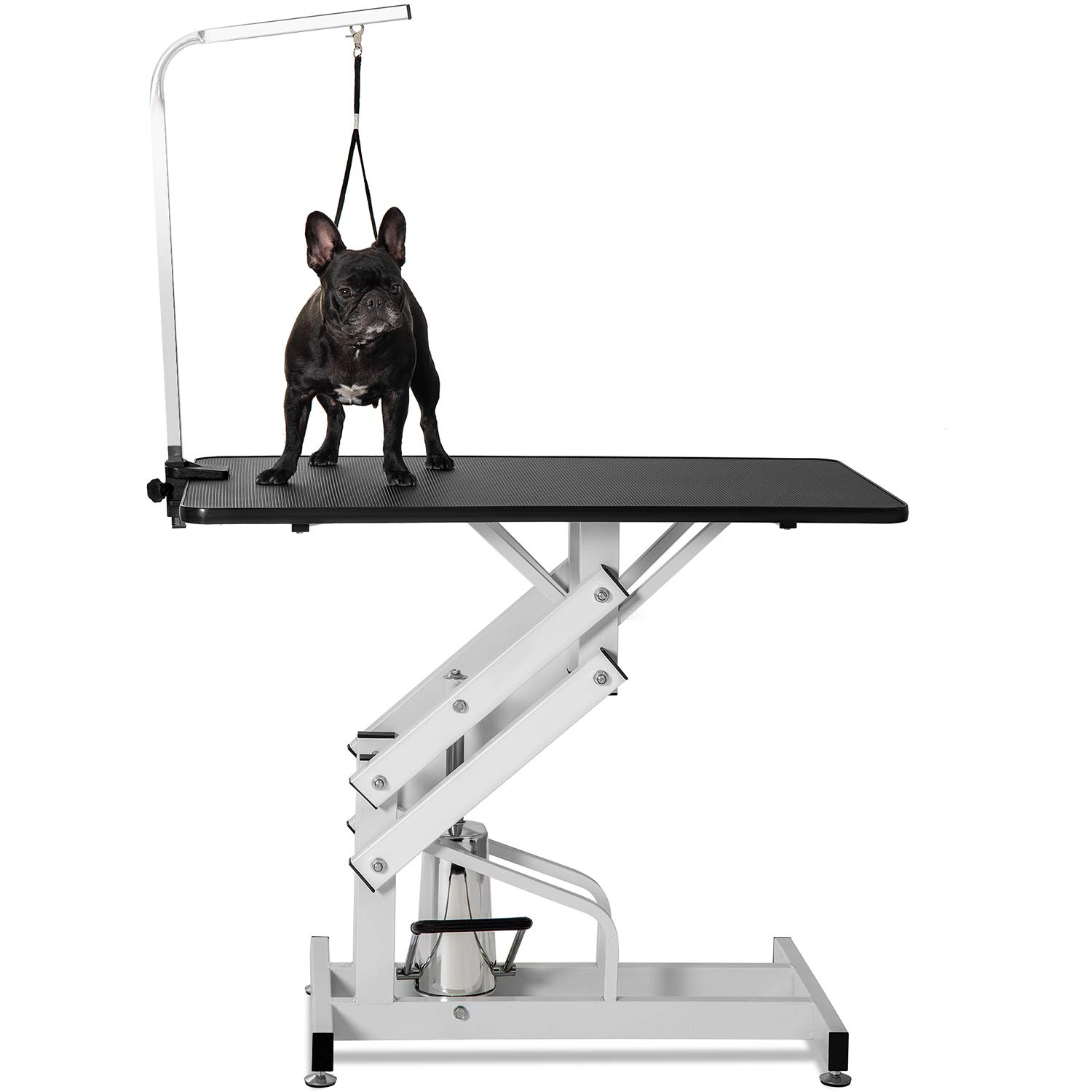 Dog Grooming Table Hydraulic,JULYFOX Z-Lift Pet Grooming Table with Clamp On Arm Height Adjustable 330 LB Heavy Duty Strong Professional Groomers Helper for Small Medium Large Dogs Cats