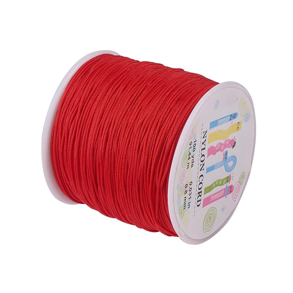 Pandahall 1 Roll(About 90m, 100 Yards) 0.8mm Nylon Beading String Knotting Cord, Chinese Knotting Cord Nylon Kumihimo Macrame Thread Beading Cord (Red)