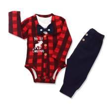 Baby Boys Christmas Outfit My 1st Christmas Romper Long Bodysuit Pants 3PCS Clothing Set