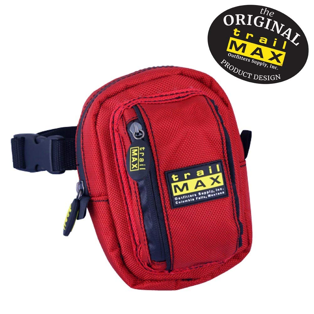 TrailMax 500 Series Insulated & Padded Front Pocket Saddle Bag for Trail Riding, 1680-denier Ripstop Nylon Outer Shell has a PVC Water Resistant Coating, in Black, Glacier Blue, Red