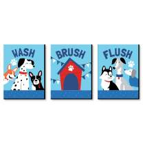 Big Dot of Happiness Pawty Like a Puppy - Kids Bathroom Rules Wall Art - 7.5 x 10 inches - Set of 3 Signs - Wash, Brush, Flush