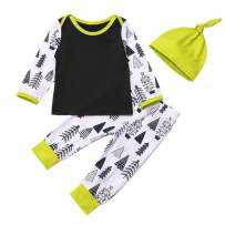 Newborn Toddler Baby Clothes Spring/Winter Pines Squirrels Cartoon Printed T-Shirt Top+Pants +Hat 3pc Cute Outfits