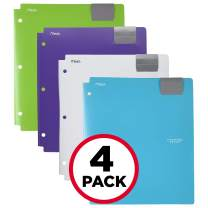 Five Star 4-Pocket Folders, Folders with Pockets, Fits 3 Ring Binder, Plastic, Teal, White, Purple, Lime, 4 Pack (73274)