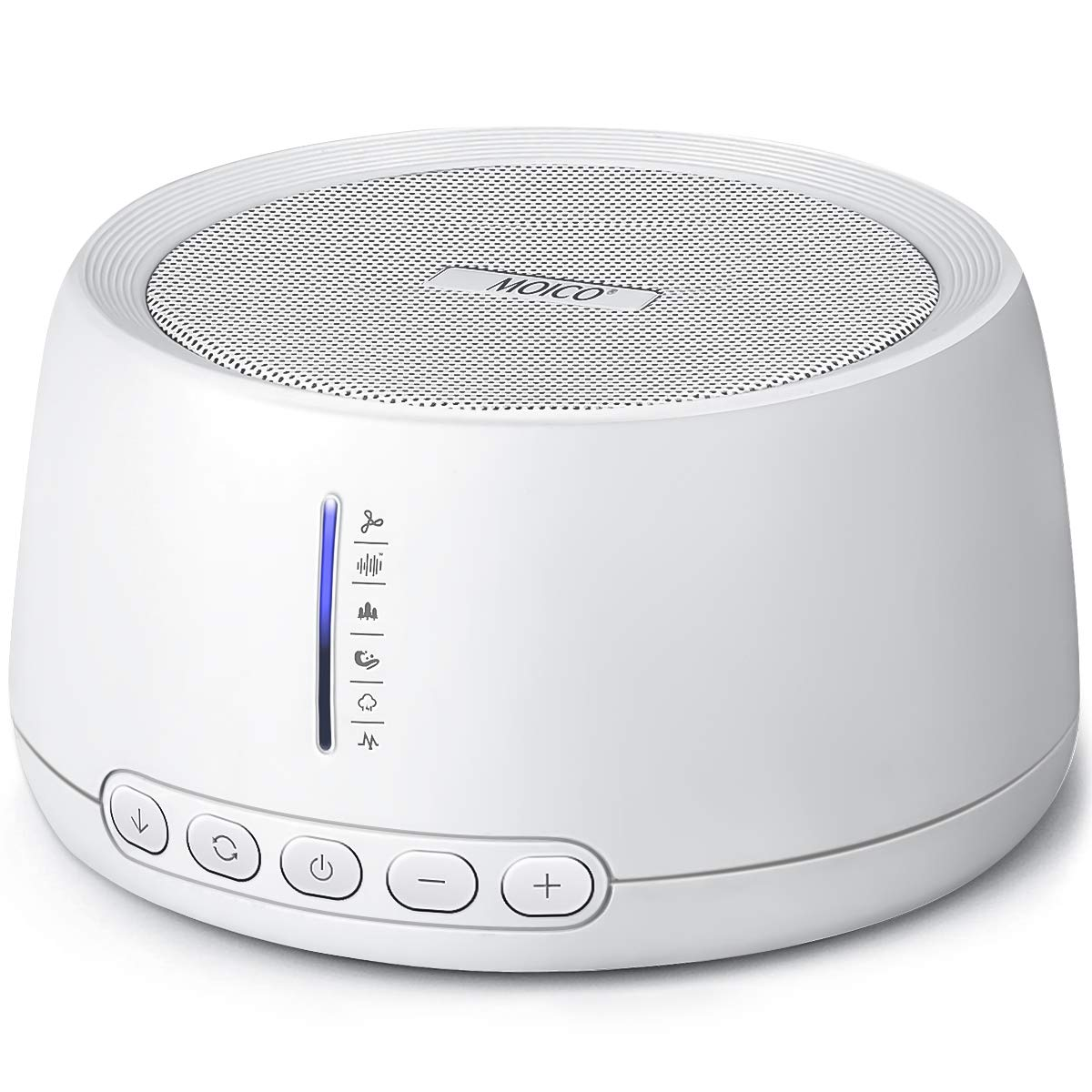 White Noise Machine - MOICO Sleep Sound Machines for Baby Adults, 30 Natural Sounds, 35 Volume Settings, Timer & Memory Function, USB Cable/Plug Included, Great for Home Travel Office Privacy (White)