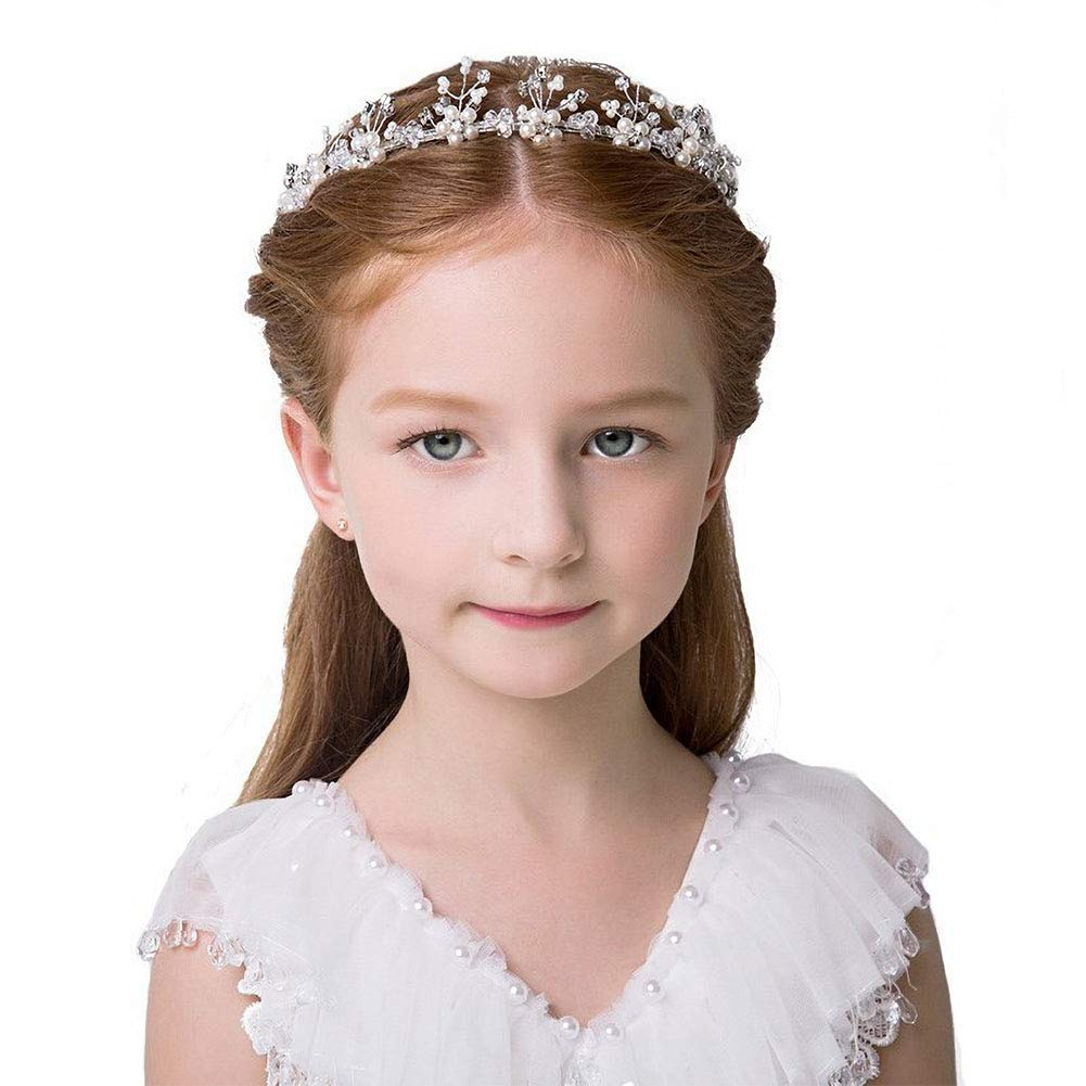 Hair Vines Princess Wedding Headpiece, Ideal Swan Pearl Crystal Headwear for Wedding Tiara Flower Headband Accessories to Baby Girl-Suitable for Shows, Children' Day(White)