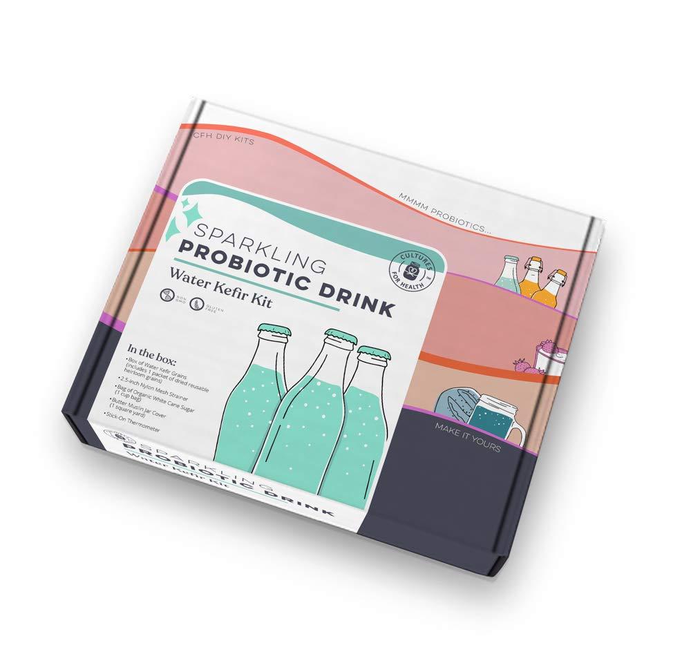 Sparkling Probiotic Drink Starter Kit   Cultures for Health   Make Sparking Probiotic drinks at home   Water Kefir Grains   Non-GMO, Gluten-Free