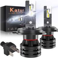 KaTur H4 9003 HB2 Led Headlight Bulbs Hi/Lo Mini Design Upgraded CREE Chips Extremely Bright 12000 Lumens Waterproof All-in-One LED Headlight Conversion Kit 55W 6500K Xenon White-2 Years Waranty