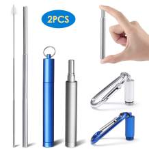 2 Pack Collapsible Drinking Straws, Portable Stainless Drinking straws Reusable and Eco-friendly with Carrying Case, Cleaning Brush, Keychain for Travel, Home, Office(Blue and Silver)
