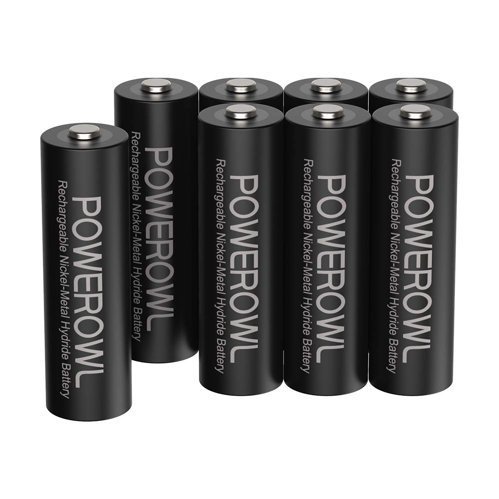 POWEROWL Rechargeable AA Batteries,2800mAh High Capacity Batteries 1.2V NiMH Low Self Discharge Pack of 8