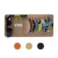 CD Sun Visor Organizer for Car Detachable Portable Multi-Function PU Lambskin with 10 CD Slots + 4 Credit Cards Pockets + 1 Sunglasses Holder + 1 Pen Holder (Yellow)