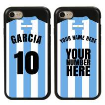 Custom Argentina Flag Soccer Jersey Cases for iPhone 7/8/SE by Guard Dog – Personalized Sports – Your Name and Number on a Phone Case. (Black,Black)