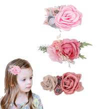 Hipcheer flower girl hair clip,3pcs Floral Hair Bows Accessories for Baby Girl Toddles Teen Women Gifts