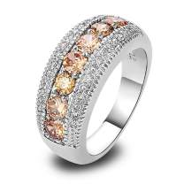 Narica 925 Sterling Silver Plated Morganite Ladies Eternity Love Cocktail Ring Wedding Band CZ Sizes 8