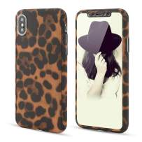 for iPhone X iPhone Xs Case,L-FADNUT 3in1 Stylish Leopard Cheetah Print Precise-Fit Premium PC Case and Tempered Glass Screen Protector Scratch Resistant Dual Layer Protective Case Coffee