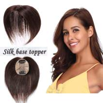 S-noilite Silk Base Real Human Hair Topper for Women Top Hairpiece Clips in Crown Hand Made Toupee Replacement Extentions for Hair Loss Thinning Hair Cover Gray Hair 20Inch #04 Medium Brown