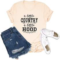 Womens Vintage Tank Tops Country Music Shirt A Little Country A Little Hood Vest Tee