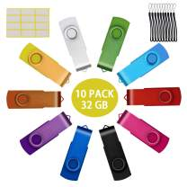 Bulk 10 Pack Thumb Drives 1GB Flash Drive USB 2.0 Mixed Color Swivel Pendrive 1 GB Jump Drive Multipack Memory Stick with Lanyads Promotional Item by Uflatek
