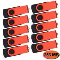 Small Capacity USB Flash Drive 10 Pack 256MB Thumb Drives Bulk Red USB 2.0 Memory Sticks Kepmem Metal U Disk Swivel Pen Drive Portable Jump Zip Drive as Client Gift
