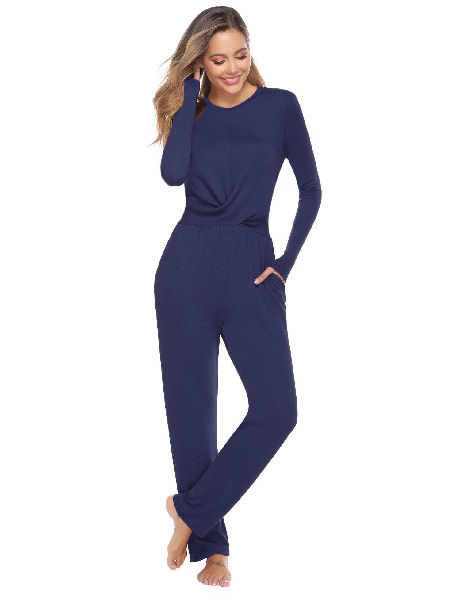 Abollria Women's Cotton Pajamas Set Long Sleeve Wrap Front Top and Pant Sleepwear Set