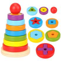 Miunana Wooden Stacking Toy for Kids,Wooden Toys Rainbow Sorting for Baby and Toddlers