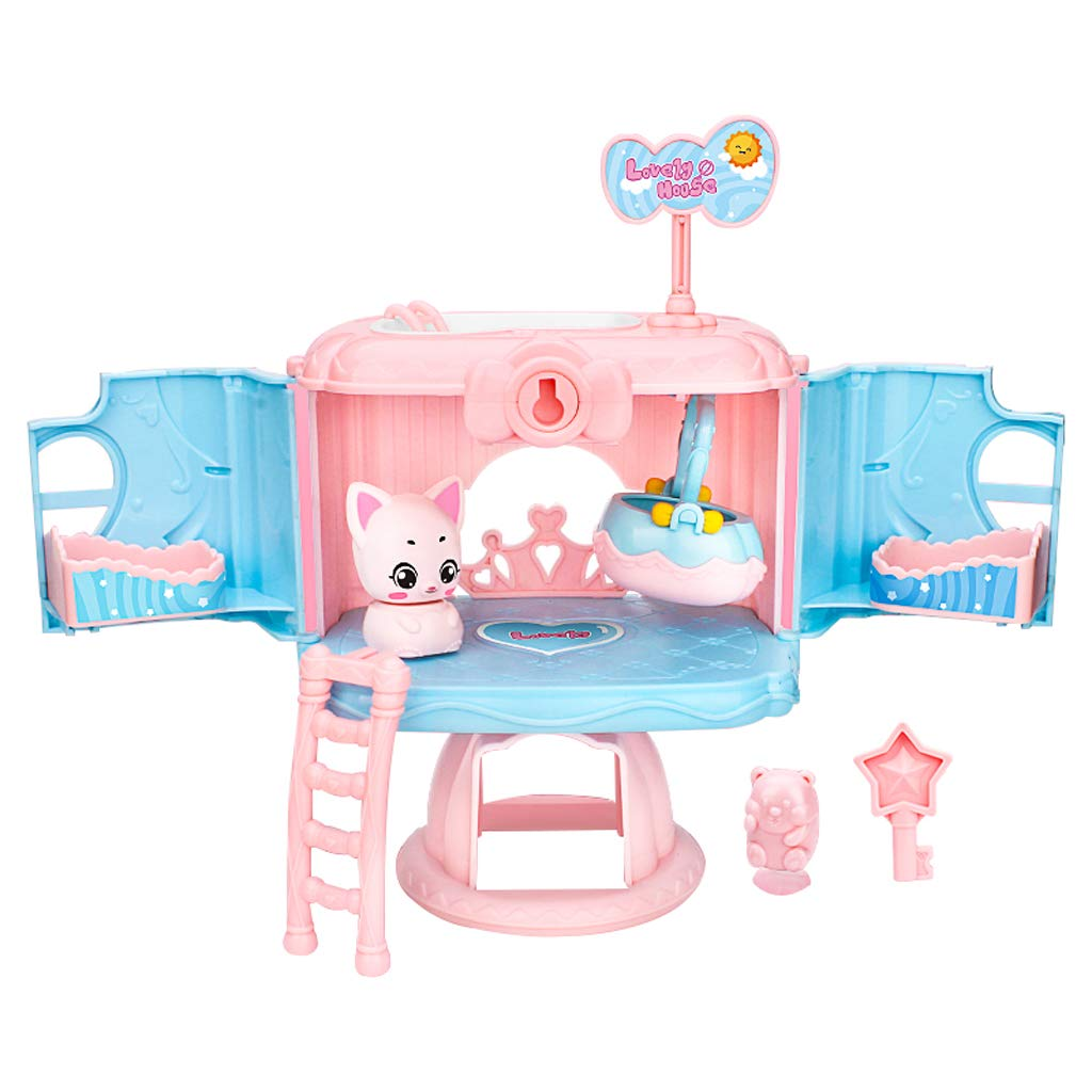 FULIM DIY Dollhouse Kit, Critters Cat's Dream Hostel House Playset Kids Indoor Outdoor Toys for 1-6 Years Old Girls Toddlers, Pink