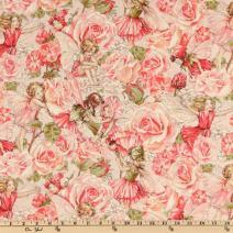 Michael Miller Flower Fairies Sweet Garden Rose Metallic Fabric by The Yard