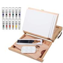 Falling in Art Acrylic Painting Set with Table Easel Drawer, Canvas Panels, Brushes and More