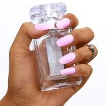 Campsis 24pcs Pure Color False Nails Glossy Coffin Nails Full Cover Fake Nail Fashion Nail Art Tips for Women (pink)