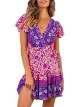 GAMISOTE Womens V Neck Short Sleeve Summer Dress Boho Floral Print Ruffles Mini Dresses (Small, Rose Red)