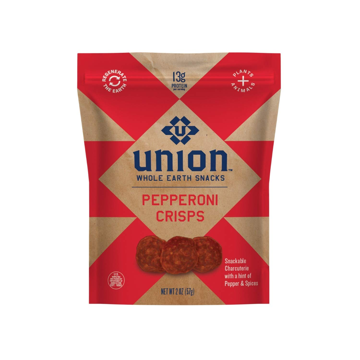 UNION Pepperoni Charcuterie Crisps - Whole Earth Snacks - Healthy Food, Keto Snacks, High Protein & Gluten Free - Paleo and Keto Diet Friendly - Pack of Two