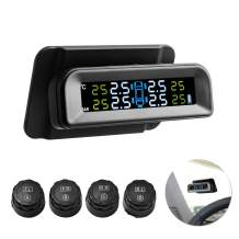 Favoto TPMS Car Tire Pressure Monitoring System Solar Power LCD Screen Universal with 4 External TPMS Sensors Real-time Monitor Tires' Pressure & Temperature (14.5-72PSI/1-5Bar) (B-Type)