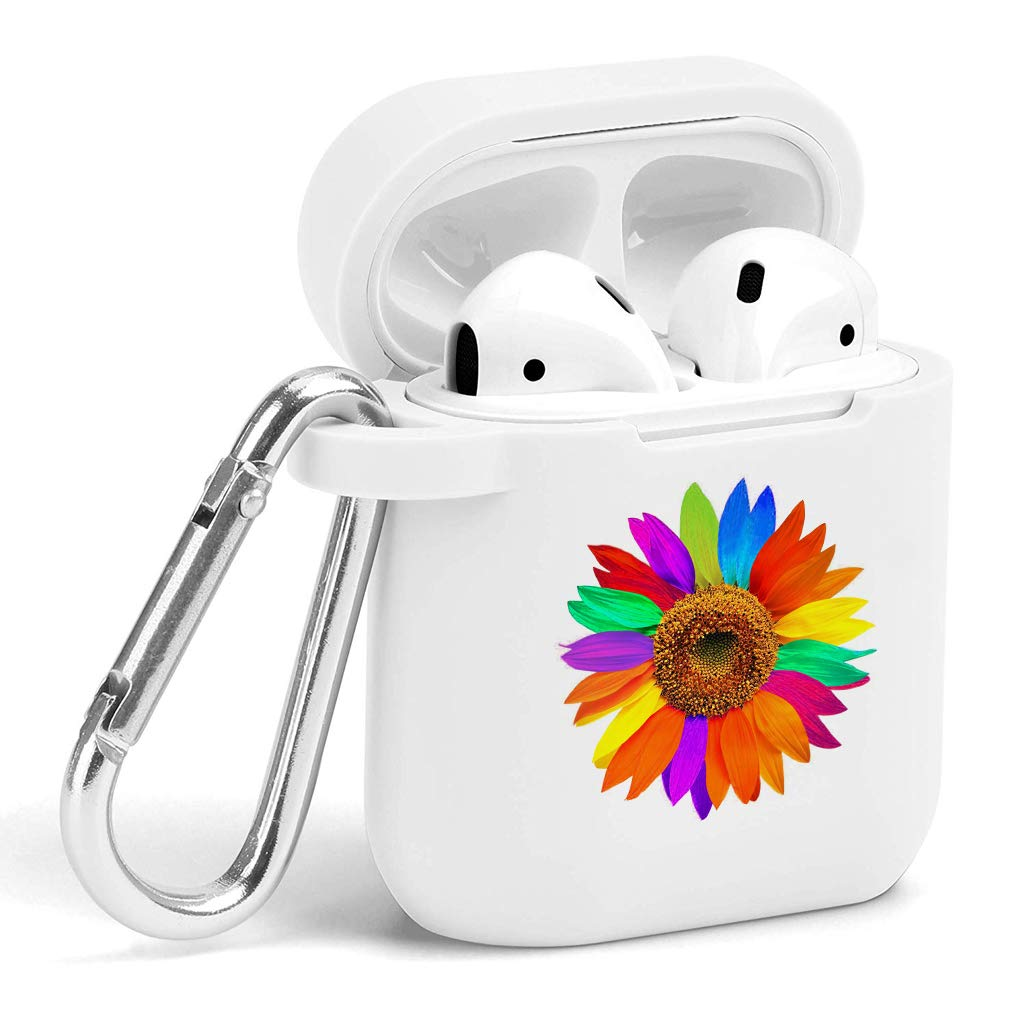 Case for Air Pods - Cute Flexible Protector Silicone Holder Cover with Keychain Accessories Compatible with Airpods 1 2 Sunflower