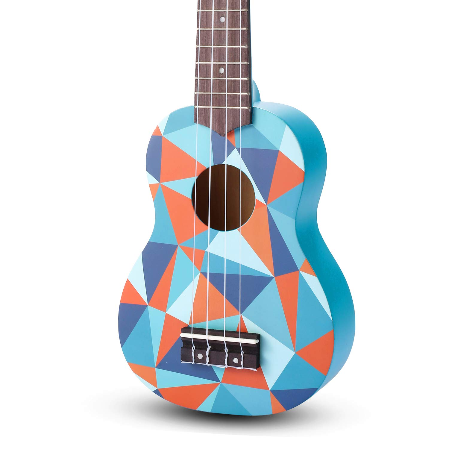 SanDona AK60B Soprano Basswood Ukulele,Children Musical Instruments, 21 Inch with Gig Bag for Kids Students and Beginners, Blue Geometric
